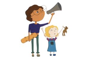 Illustration enfants mégaphone